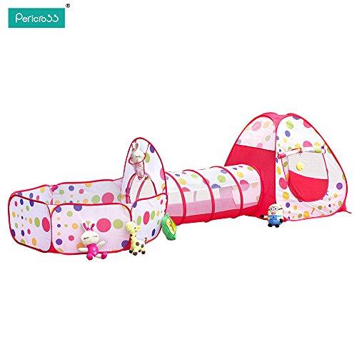UPGRADE NEU PericrossTM 3-Teilig Kinder Zelt mit Krabbeltunnel und Bällebad Basketball-Korb-Design für Unisex unter 3 Jahren