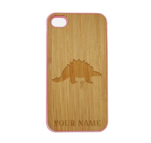 Stegosaurus Wood (SudysAccessories Personalized Customized Custom Stegosaurus Dinosaur On Wood Engraved Pink iPhone 4 Case - For iPhone 4 4S 4G - Designer Real Bamboo Back Case Verizon AT&T Sprint(Send us an Amazon email after purchase with your choice of NAME))