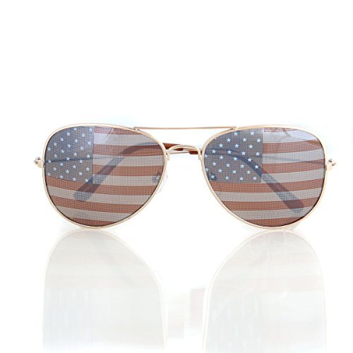 American USA Flag Aviator Sunglasses Patriotic United States Stars Stripes Gold (Celebrity Bag Spy)