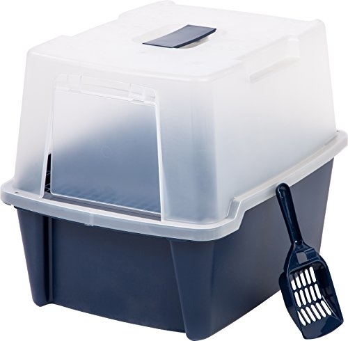 IRIS Large Hooded Litter Box with Scoop and Grate, Blue