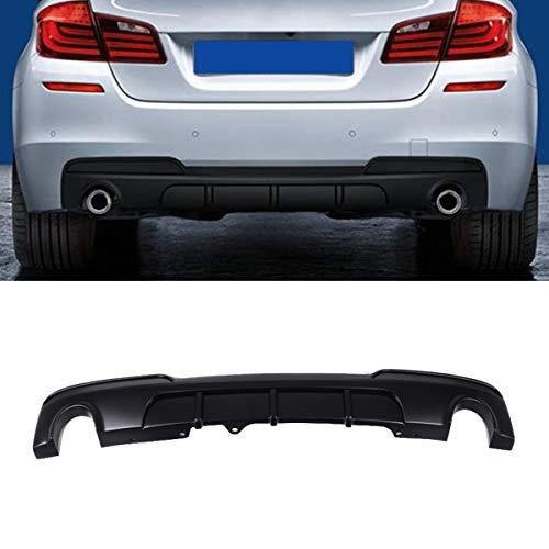 Fandixin F10 Diffuser, FRP MP Style Rear Bumper Diffuser Lip Single Muffler Dual CutOut for BMW 5 Series F10 M Sport (Matt Black)