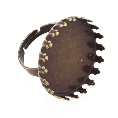 20pcs- Antique Bronze Plated Adjustable Faceplate Ring Base Settings with 25mm Round Pad