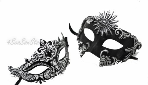 Roman Couples Costumes - His & Hers Masquerade Couples Venetian Design Masks - 2 Piece Colored Set - Perfect Couple Mardi Gras Majestic Party Halloween Ball Prom by QJ