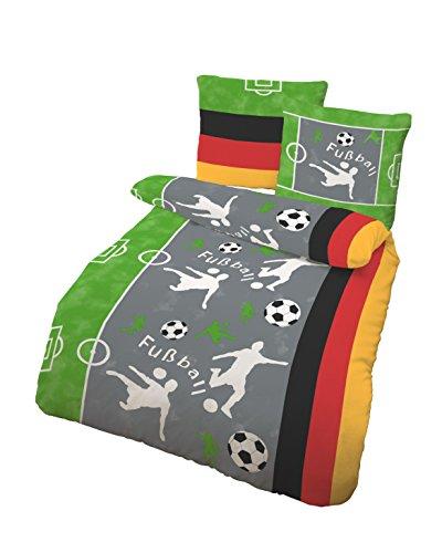 Bettwäsche 2tlg. Biber 135x200 80x80 Fußball Grau Weiß made in Germany