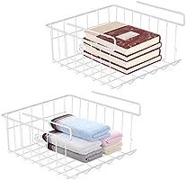 Hängekorb Metall,2 Stück Regaleinhängekorb Hängekorb Regal Unter Schrank Lagerung Aufbewahrungs-Korb für Küchenschränke...