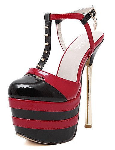ShangYi Womens Shoes Patent Leather Stiletto Heel Round Toe Sandals Party & Evening / Dress Black / White Black