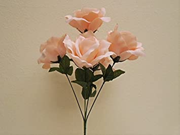 Amazon 4 bushes blush pink jumbo open rose 5 artificial silk 4 bushes blush pink jumbo open rose 5 artificial silk flowers 15quot bouquet 609bpk mightylinksfo