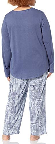 HUE Women's Cozy Long Sleeve Top and Pant 2 Piece Pajama Set