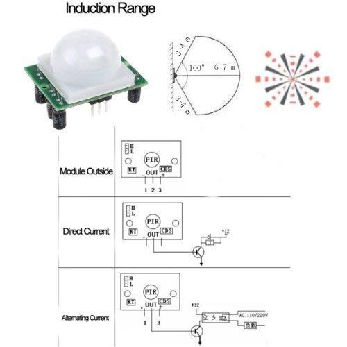 5PCS/Lot ajusta el módulo infrarrojo del detector del sensor de movimiento del IR Pyroelectric PIR: Amazon.es: Electrónica