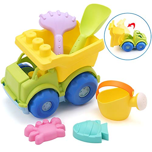 LotFancy Beach Toys Set, 6 Piece Beach Sand Toy Set, Beach Sandbox Toy with Dump Truck, Watering Can, Shovel, Rake, Sand Molds Toys for Boys Girls Toddlers