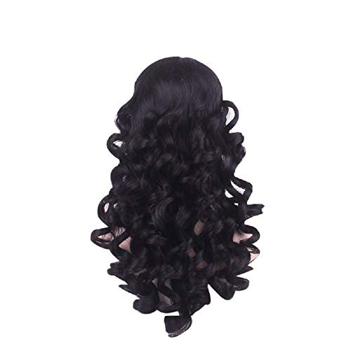FINME Black Wigs Wavy Curly Long Heat Resistant Fiber Costume Party Wigs for Women,Ship from USA (Black)