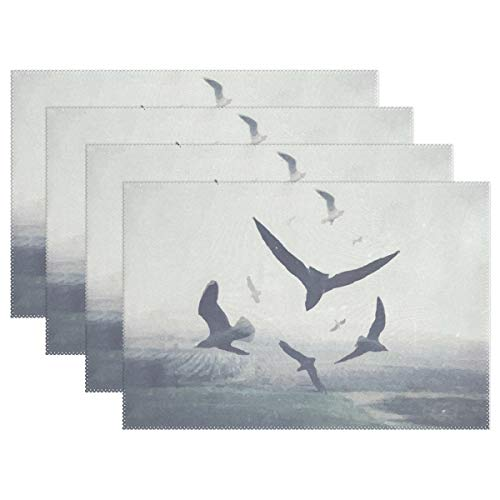 Mr.Lucien Watercolor Flying Bird Animal Pattern Placemats Gray Shadow Painting Artwork Heat Insulation Stain Durable Non-Slip Kitchen Table Place Mats 18