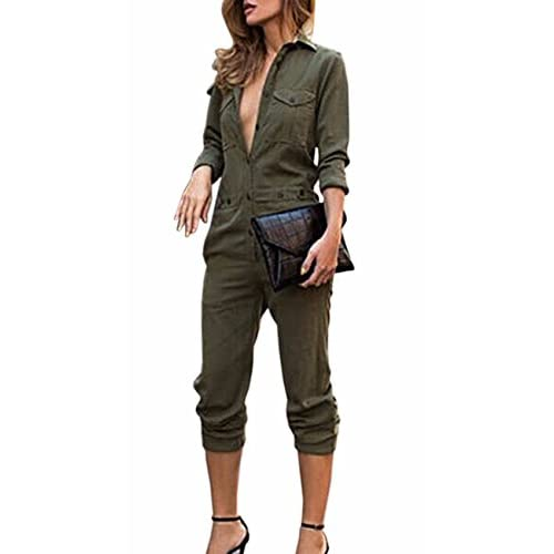 Hot Belleshine Women's Autumn Long Sleeve Button Down Casual Jumpsuit Romper Overalls(AG,XL)