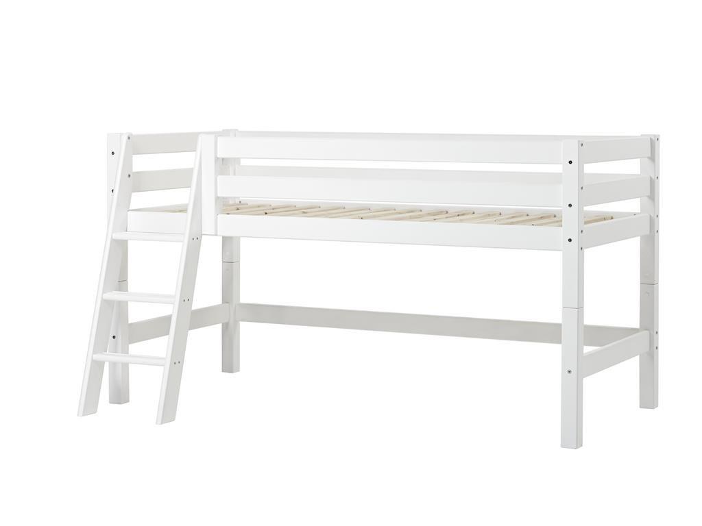 Halbhohes Bett XXL mit schräger Leiter, 70 x 160 cm Farbe: Weiß, Liegefläche: 70 x 160 cm, Lattenrost: Standard Rollrost