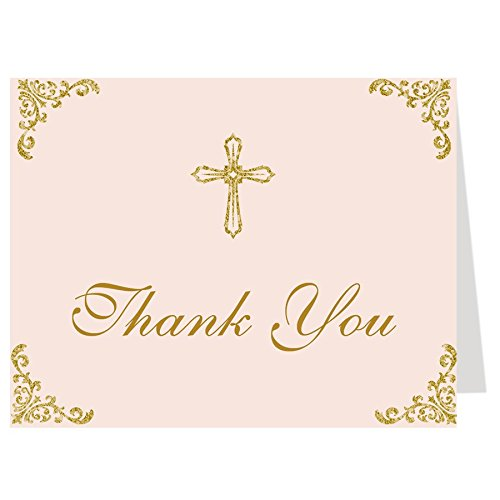 (Thank You Cards, Christian, Religious, for Baptism, First Communion, Confirmation, Graduation, CCD, Christening, Pink, Gold, Cross, 50 Pack Thank You Notes with Envelopes)