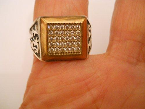 (Vintage 925 silver gold vermeil diamond square ring)