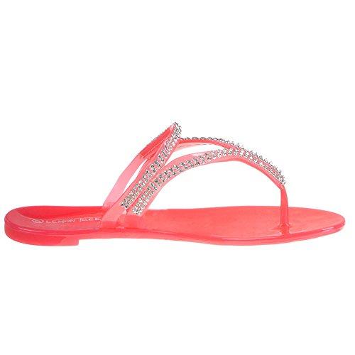 Ital-Design - Sandalias de vestir de Caucho para mujer Rojo - Coral