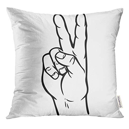 UPOOS Throw Pillow Cover Body Hand Peace Sign Cartoon Finger Gesture Decorative Pillow Case Home Decor Square 18x18 Inches Pillowcase