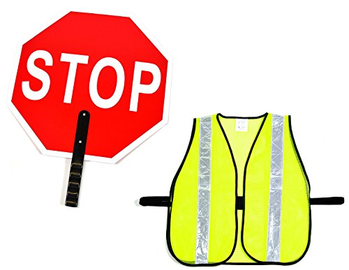 School Sign Crossing - RK Aluminum Stop/Slow Paddle Sign with Safety Vest- Crossing Guard Set (18- Inch Stop Sign, Neon Yellow Vest)