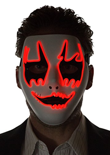 Neon Nightlife Men's Light Up Clown Mask, One Size, (Tron Costume Glow Sticks)