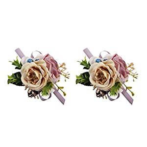 USIX 2pc Pack-Handmade Artificial Rose Flower Wrist Corsage Wristband for Girl Bridesmaid Wedding Party Prom Flower Corsage Hand Flower (Champagne Purple Wrist Corsage x2)