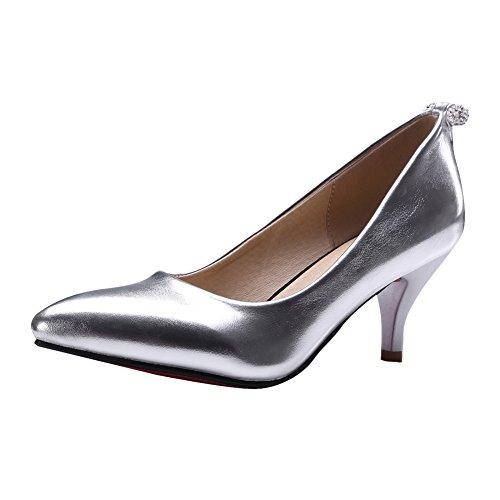 Latasa Womens Fashion Pointed Toe Mid Heel Dress Pumps Silver hpbyj9nKYc
