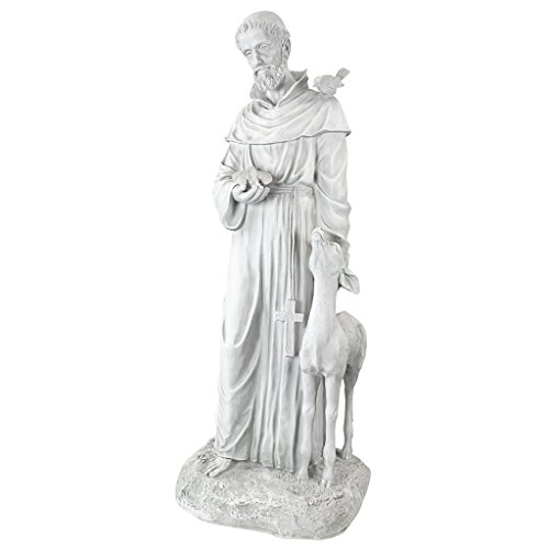 Design Toscano KY1336 Francis of Assisi, Patron Saint of Animals Religious Garden Decor Statue, 37 Inch, Antique Stone