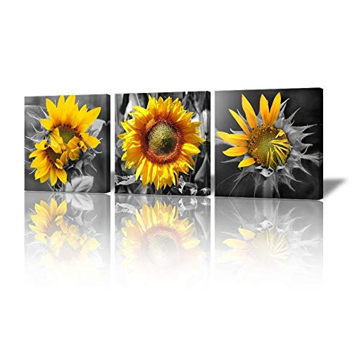 Bedroom Wall Decor Modern Sunflower Decor for Bedroom Bathroom Kithen Wall Decor Black and White Yellow Canvas Art Wall Decoration for Office 3 Piece Canvas Wall Art Set Sunflower Art -