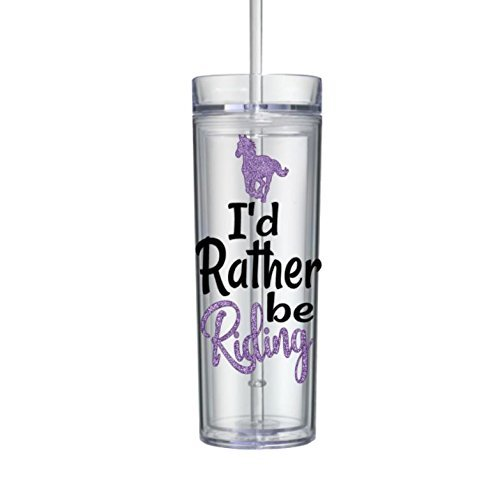 Horse tumbler with straw gifts for girls I'd Rather be riding bottle purple16oz (Valentine Treasure Design Wine Bottle)