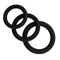 RingBuu Male Enhancement Exercise Bands O Ring 3 Different Size Flexible Silicone Rings (Black)
