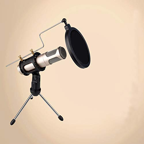 Microphone Stand 2 in 1 Mini Microphone Stand Desktop Tripod Recording Microphone Holder with Mic Clip Windscreen Filter Pop Filter for Singing
