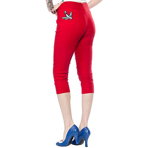 Women's Sourpuss Swallow Sugar Pie Capris Red durable service ...