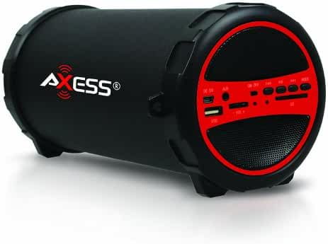 AXESS SPBT1031RD Portable Bluetooth Indoor/Outdoor 2.1 Hi-Fi Cylinder Loud Speaker with Built-In 3