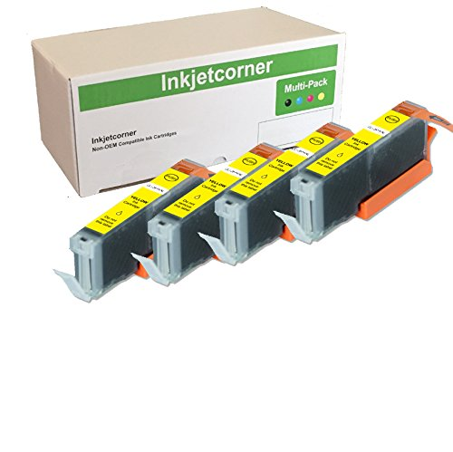 (Inkjetcorner 4 Pack Yellow Compatible Ink Cartridge Replacement for CLI-251XL CLI-251Y for use with MX922 MX722 MG5620 MG5520 MG6620 MG6420 MG5420 MG5522 MG7120 MG7520 iX6820 MG6320)