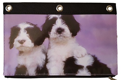 Canvas 3 Ring Zippered Binder Pouch Pencil Holder Baby Animal Photo (Border Collie (Border Collie Pups)