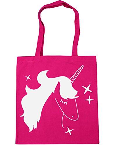 HippoWarehouse Blue Star Unicorn Tote Shopping Gym Beach Bag 42cm x38cm, 10 litres Fuchsia
