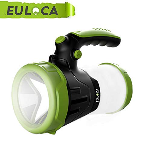 EULOCA Rechargeable CREE LED Spotlight, Multi Function Outdoor Camping Lantern Flashlight, Power Bank, Work Torch, Waterproof LED Searchlight with USB Cable, for Hiking Fishing Emergency (4400mAh)