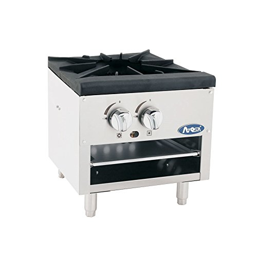 Atosa US Single Stock Pot Stove Natural Gas Stainless Steel Countertop Portable Commercial Gas Burner Range - 80,000 BTU ()