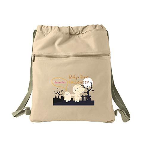 Custom Text First Halloween Mummy Graveyard Cotton Canvas Dyed Sack Backpack ()