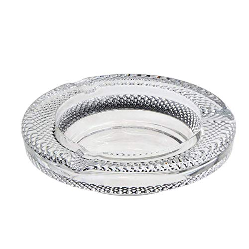 Coin Glass Ashtray - YXQ Round Clear Ashtrays Glass with Rose Pattern Outside Adornment 5.36inches