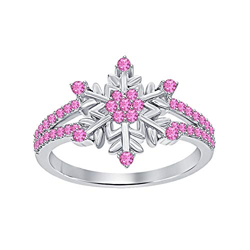 (Womens 14K White Gold Plated Round Pink Sapphire Split Shank Flower Design Snowflake Ring 925 Sterling Silver)