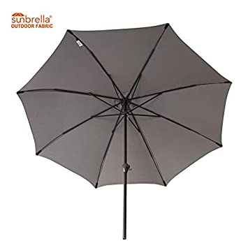 FLAME SHADE 11 Sunbrella Outdoor Patio Umbrella Market Style Aluminum for Outside Balcony Table Deck Backyard or Pool, Beige