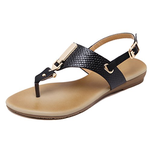 AIYOUMEI Damen Knöchelriemchen T-spangen Sommer Flach Thong Sandalen Böhmen Flip Flops Strand Hausschuhe UFGUvt1HL