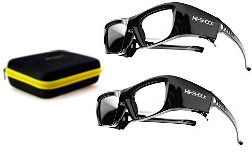 2x Hi-SHOCK Black Diamond | 3D active glasses for 2013-2018 SONY, SAMSUNG, SHARP, LG Plasma, PANASONIC FullHD / HDR / 4k TV | comp. with TDG-BT500A, SSG-5150GB, TY-ER3D4MU, AN3DG40