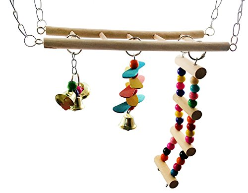 Hamiledyi Bird Swing For Parrot Parakeet Budgie Cockatiel Climbing Ladder Swinging Wood Hanging Toy Bird Toy Ladder Wooden Bridge Swings for Parrots Wooden Suspension Bridge Hamster Hammock Cage Toy by Hamiledyi