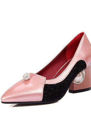 GGX/ Damen-High Heels-Hochzeit / Kleid / Party & Festivität-Kunstleder-Blockabsatz-Absätze / Spitzschuh-Schwarz / Rosa / Rot / Weiß / Silber / pink-us6 / eu36 / uk4 / cn36