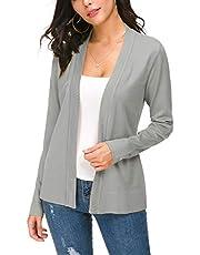 EXCHIC Women's Knit Cardigan Open Front Sweater Coat Long Sleeve