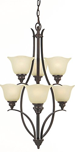 Feiss F2051/3+3GBZ Morningside Glass Chandelier Lighting, Bronze, 6-Light (24″Dia x 33″H) 600watts