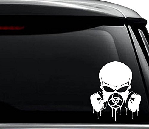 Biohazard Respirator Gas Mask Decal Sticker For Use On Laptop, Helmet, Car, Truck, Motorcycle, Windows, Bumper, Wall, and Decor Size- [6 inch] / [15 cm] Tall / Color- Matte -