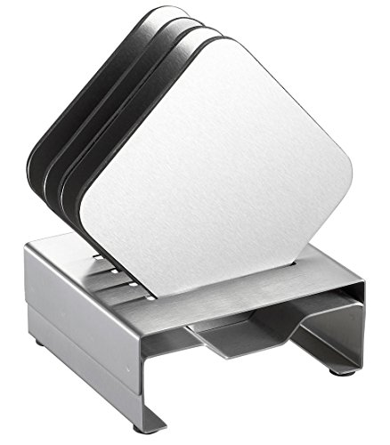Visol Products Pascal Stainless Steel Square Coaster Set with Holder, Chrome
